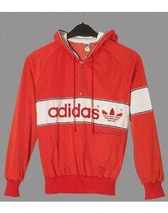 80er Adidas Vintage Damen Sweatshirt hooded S54 // original 80er Jahre Adidas Oldschool Vintage Sweatshirt Größe: S, Material: 59% Polyester 41% Cupro, Farbe: rot / weiß, dkl.blau großes Adidas Schriftzeichen u. Logo in Samtflock, Einzelstück