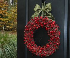 Red Berry Christmas Wreath  Holiday Wreath by EverBloomingOriginal