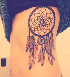 dreamcatcher tattoos on ribs | right i have a dreamcatcher tattoo on my ribs that i draw my self and ...