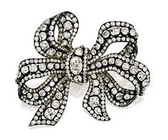 Diamond bow brooch, c. 1840, from collection of Princess Marina, Duchess of Kent, sold for $842,500 on est. $200k-$300k, Sotheby's New York, December 5, 2012