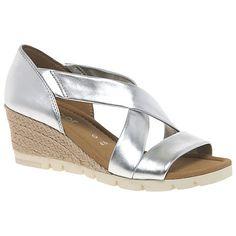Buy Gabor Lisette Wide Wedge Heeled Sandals, Silver Online at johnlewis.com