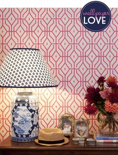 Anna Spiro's new wallpaper collection looks stunning with patterned lamp. Via Adore Home Magazine Blog