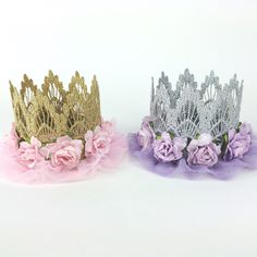 NEW || ballerina FLOWER lace crown headband ||Easter Spring Birthday||pink or lavender| Gold or Silver|| any age by lovecrushbowtique on Etsy https://www.etsy.com/transaction/1017923124