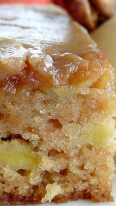Fresh Apple Cake w/ Brown Sugar Glaze Recipe ~ Caramelly. Fresh Apple Cake w/ Brown Sugar Glaze Recipe ~ Caramelly. Apple Cake Recipes, Baking Recipes, Apple Cakes, Apple Sheet Cake Recipe, Apple Pie Cake, 8x8 Cake Recipe, Apple Sauce Cake, Cookie Recipes, Apple Cinnamon Cake