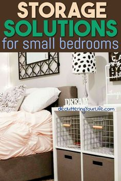 Storage Solutions for Small Bedrooms - Space Saving Organizing Ideas To Unclutter, declutter and Organize Your Small Bedroom even if you're on a budget. Bedroom Storage For Small Rooms, Small Bedroom Organization, Small Space Bedroom, Tiny Bedrooms, Bedroom Storage Solutions, Organizing Small Bedrooms, Small Bedroom Decor On A Budget, Organized Bedroom, Wardrobe Organisation