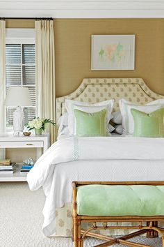 Coastal Bedroom with Layered Decor - Colorful Coastal Bedrooms - Southernliving. Mixed materials like the down-filled duvet, grass cloth wallcovering, bamboo bench, and wool Berber carpet add warmth. The sleepy space gets a gentle wake up from the quiet splashes of celadon green on the bed linens, pillows, and bench cushions. The plush wool Berber carpet is a soft landing spot for bare feet. (The rest of hte floors in the house are sisal or hardwood.)