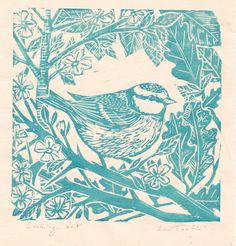 Linocut print, handprinted- Spring design by Lou Tonkin