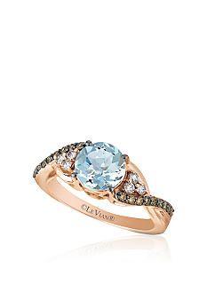 Le Vian® 14k Strawberry Gold® Aquamarine,Vanilla Diamond™ and Chocolate Diamond® Ring - Belk Exclusive