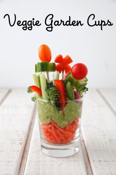 Serve super healthy Veggie Garden Cups for a fun snack and a way to get kids to try lots of veggies!