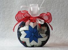 Quilted patriotic ornament  no sew  blue with by KCFabricOrnaments, $15.00