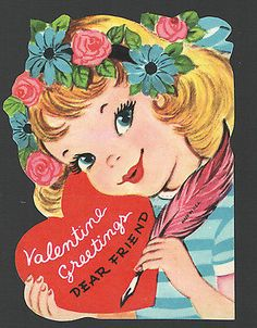Vintage Valentines Day Card Unused Girl flowers in her Hair Pink Feather Pen