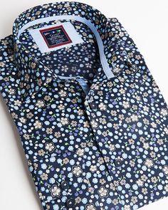 Fashion shirt | Light blue dress shirt with small flower pattern