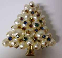 Vintage Pearls with Multi Color Crystal Christmas Tree Brooch Pin Rare