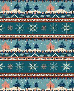 Pimlada Phuapradit - Pimlada Seasonal pattern christmas trees and snowflakes.jpg
