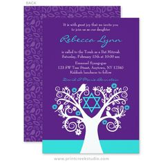 Unique purple and teal blue tree of life Bat Mitzvah invitation, with a whimsical flower tree and birds.