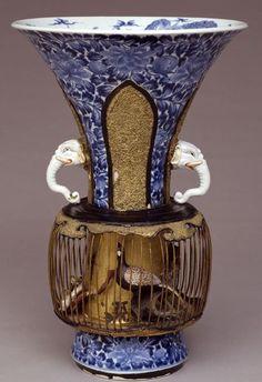 """Birdcage"" Vase, Japan, ca. 1700, porcelain, copper, gold, bamboo, pigment"
