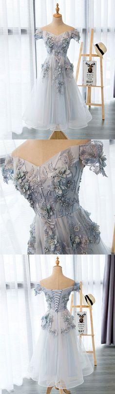gray tulle lace short prom dress,  off shoulder evening dress