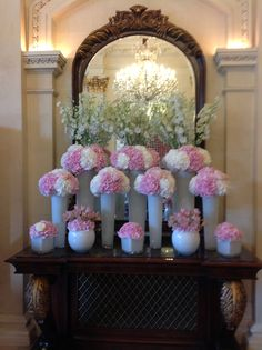 Our soft pink and white lobby flowers! Pink and white hydrangea. White roses, white delphinium and pink alstromeria Floral Bouquets, Wedding Bouquets, Wedding Flowers, Delphinium, Hydrangea, Art Floral, Floral Design, Hotel Lobby, White Roses