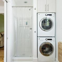 Bathroom Washer and Dryer, Contemporary, laundry room, Rock Paper Hammer