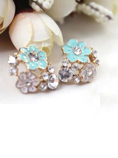 #Blue #Glaze #Flower #Stud #Earrings