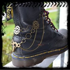 Boot Chain Bracelet - The Clockmaker - For Combat Boots, Army Boots, Docs, Dr. Martens - Steampunk Beauty! http://www.steampunko.com/product-category/accessories/masks/