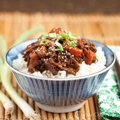Sweet Korean BBQ Beef in the slow-cooker! Easy flavorful weeknight meal that satisfies. Korean Bbq Beef, Slow Cooker Korean Beef, Slow Cooker Bbq, Korean Food, Slow Cooker Recipes, Crockpot Recipes, Cooking Recipes, Healthy Recipes, Chinese Food