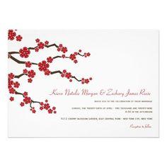 Red Sakuras Cherry Blossoms Spring Wedding Invite