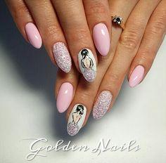 Cute Nails, Pretty Nails, Ballet Nails, Disney Acrylic Nails, Animal Nail Designs, Fruit Nail Art, Flamingo Nails, Vintage Nails, Bride Nails
