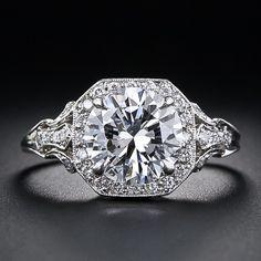 2.17 Carat 'D' Color Diamond Edwardian Style Engagement Ring