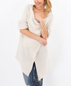 Look what I found on #zulily! Beige Asymmetrical Drape Neck Cardigan #zulilyfinds