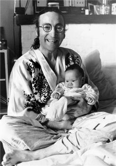 """John and Sean Lennon in 1975...John Being A """"House Husband"""" and Stay At Home Dad to His Son With Second Wife, Yoko Ono, While Taking A Break From Music In Public...Sadly, This Interlude Would End 5 Short Years Later With Lennon's Killing on December 8th, 1980 Outside of His Dakota Home...Observe John's Peace & Joy..."""
