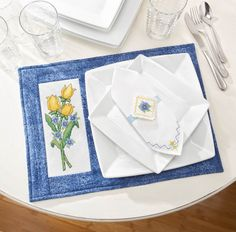Kitchen Essentials Cross Stitch Patterns Placemats and Napkin Rings