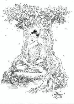 History of Buddha Om Ratchawet Amitabha Buddha, Gautama Buddha, Buddha Buddhism, Buddha Art, Buddha Tattoo Design, Buddha Tattoos, Buddha Drawing, Buddha Painting, Dark Art Drawings