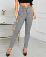 Rejilla de cintura alta con cinturón pantalones casuales Casual Pants, Capri Pants, Grey, High Waist, Fashion, Clothing, Gray, Moda, Capri Trousers