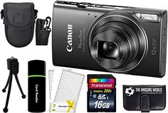 CanonPowerShot ELPH 360 HS 202MP 12x Zoom FullHD 1080p WiFi Digital Camera Black  16GB Card  Reader  Case  Accessory Bundle -- You can find out more details at the link of the image.