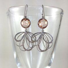 Intricate peach glass earrings