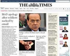 16/2/2011. Il rinvio a giudizio di Berlusconi per una vicenda di prostituzione e concussione occupa le prime pagine dei principali giornali stranieri.