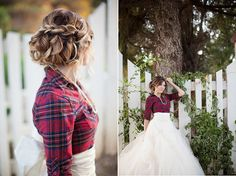 Hmm, I have an old flannel shirt of my Dad's, I could put my dress on and then the flannel to do hair and makeup, he'd see the pics after :)