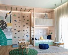 A kids playroom that has it all. Adventures await all children in here with a climbing wall, seeing, teepee, acrobatic ring and bar. Playroom Design, Kids Room Design, Cool Kids Rooms, Boys Playroom Ideas, Children Playroom, Creative Kids Rooms, Play Room For Kids, Kids Bedroom Ideas, Luxury Kids Bedroom