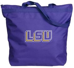 LSU Zipper Gussett Tote  Purchasing available through our Facebook page: https://www.facebook.com/handlewithflair1