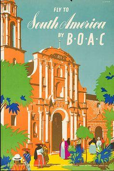 Vintage BOAC Travel Poster:  South America 1951