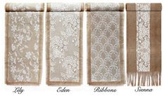 Items similar to HIRE or BUY Rustic Vintage Hessian & Lace Table Runners - Rustic Vintage Wedding on Etsy Country Table Centerpieces, Rustic Country Wedding Decorations, Vintage Country Weddings, Rustic Wedding, Country Prom, Burlap Lace Table Runner, Burlap Runners, Lace Decor, Burlap Crafts