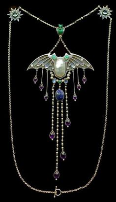 Necklace in the manner of Georg Kleemann, Jugendstil, ca.1907, Germany. Silver, gold, opal, enamel, moonstone, pearl, amethyst, lapis, turquoise, ruby and diamond