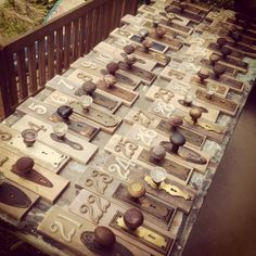 Antique door knob table numbers by FramedinLove on Etsy, $32.00 AWESOME TABLE NUMBER IDEA!!!!