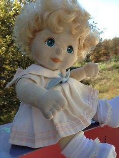 Vintage 1980's My Child Doll By Mattel Blonde Hair Aqua Blue Eyes Sailor Dress