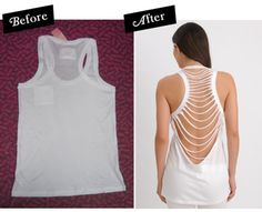 "diyprojects: "" "" I like to sew, but I love a simple no sew refashion and this one fits the bill. Got tank and ten minutes?"