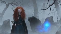 A Will O' the Wisp leads Merida and her mother in bear form to Mor'du's lair.