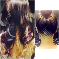 Dope undercut and ombré long hair (brown, blue, purple) ❤️❤️❤️