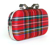 Box Clutch Minaudière Clamshell Purse - Silk Royal Stewart Red Tartan Plaid Evening Bag, Lined in Hunter Green UltraSuede