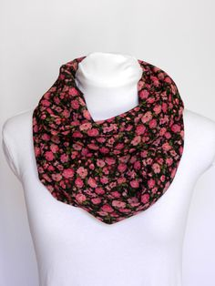 Pink Floral Infinity Scarf/ Medium Weight/ Fall and by Zaleon